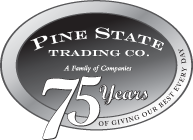 Pine State Trading Co. 75 years logo.